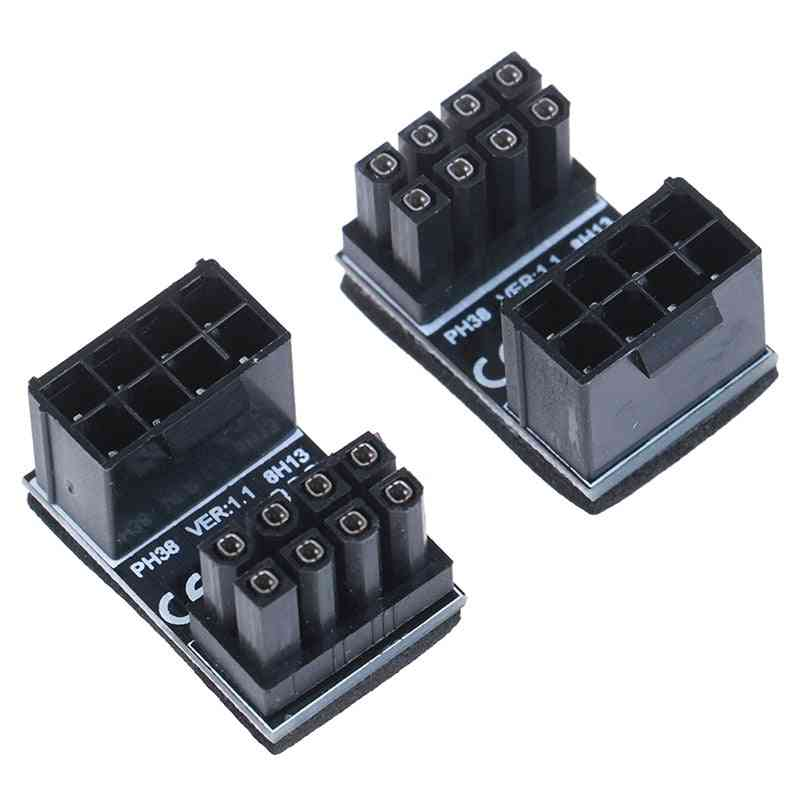 Atx 8pin Male 180 Degree Angled To 8 Pin Female Power Adapter