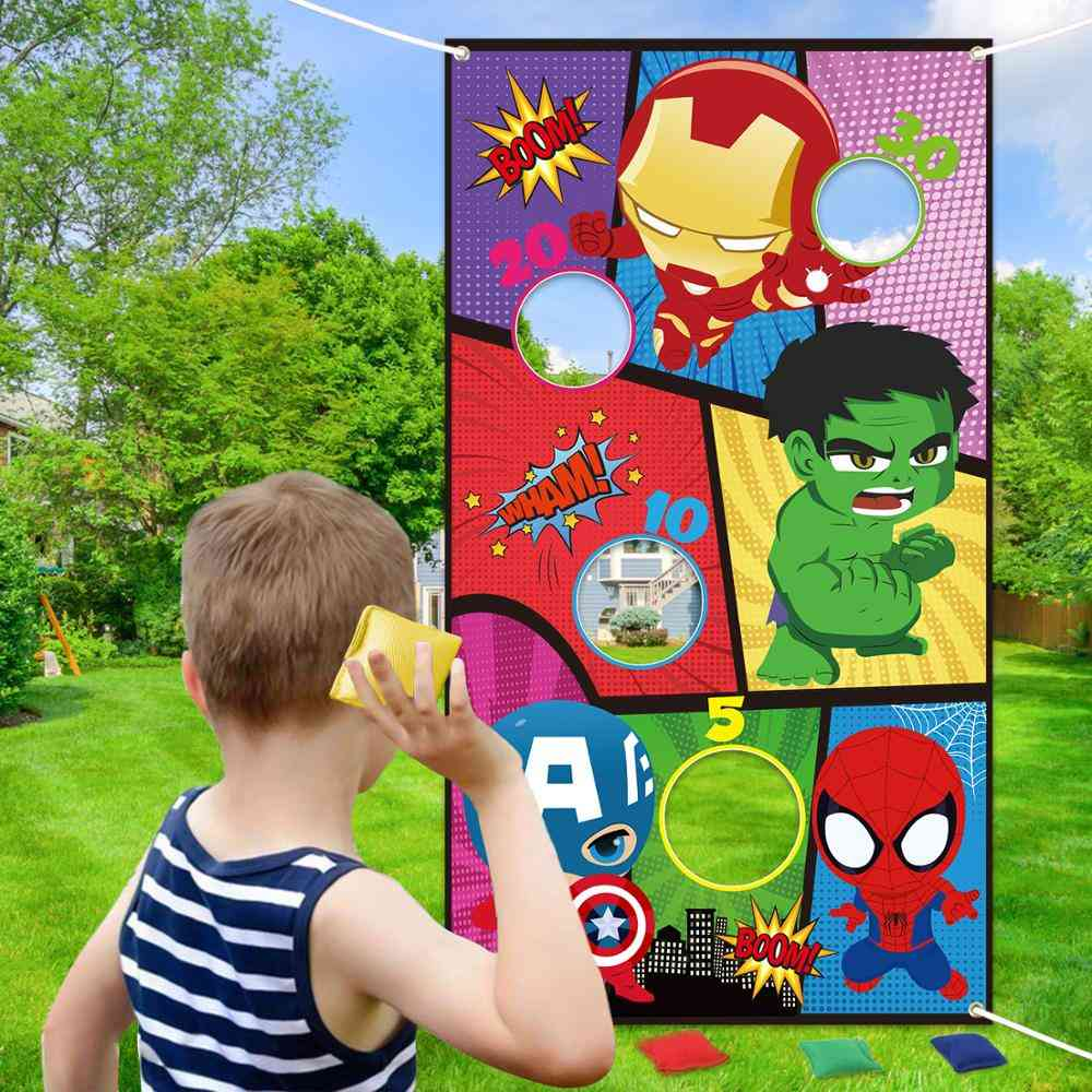 Superhero Bean Bag Toss, Indoor Outdoor Throwing Game For Kids And Family, Party Banner, Hanging Hero Theme Decoration