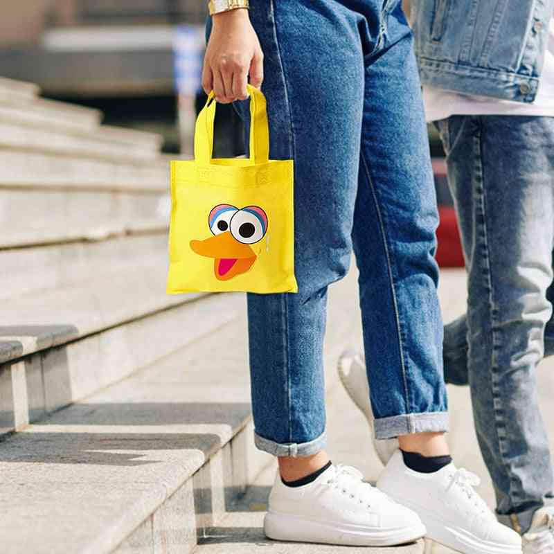 Sesame Non Woven Party Favor Bags, Monster Reusable Candy Treat Tote Bag With Handle, Theme  Decor For Kids