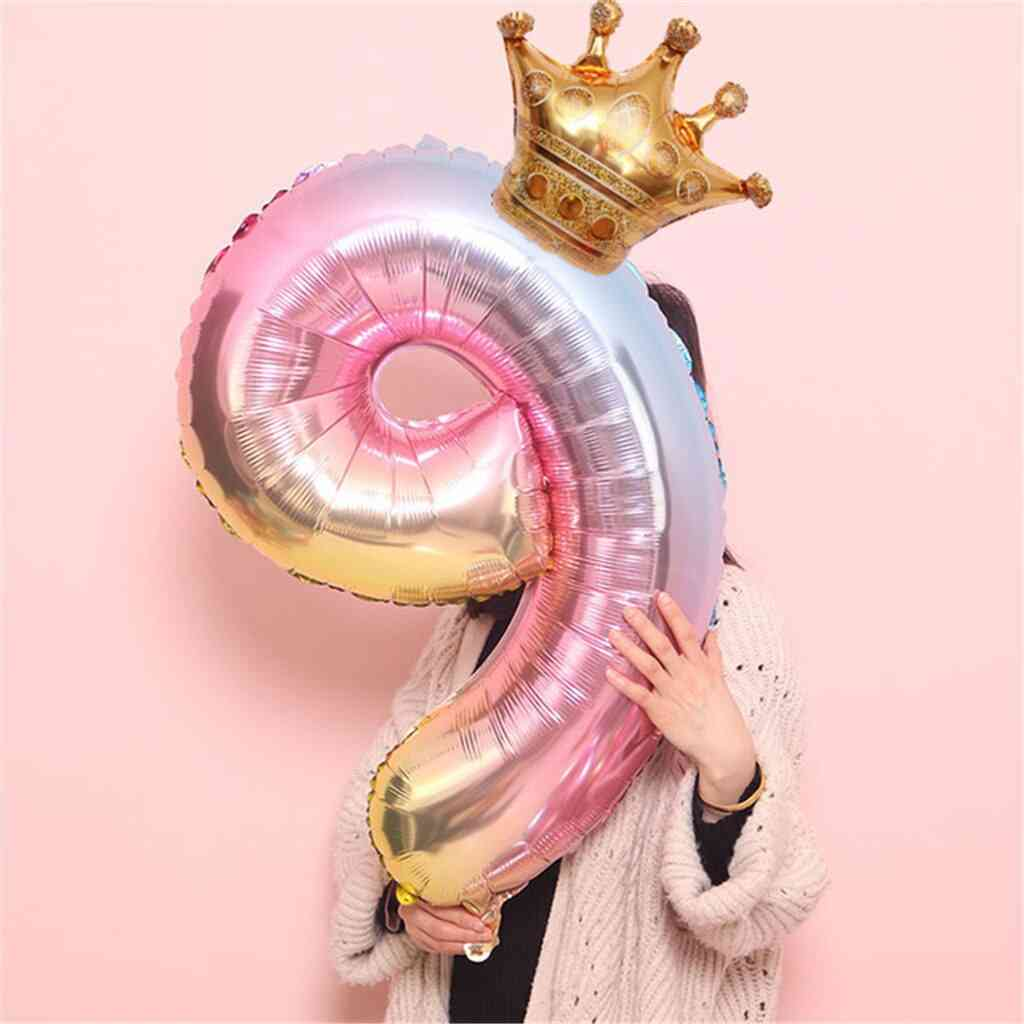 Number Foil Birthday Balloons Set Digit, Crown Helium Air Boy Or Girl, Party