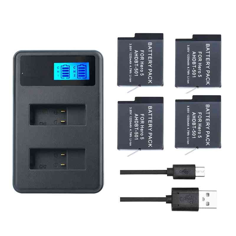 Original For Gopro Hero 8 7 6 5 Black Battery + Smart Usb Led Charger Camera