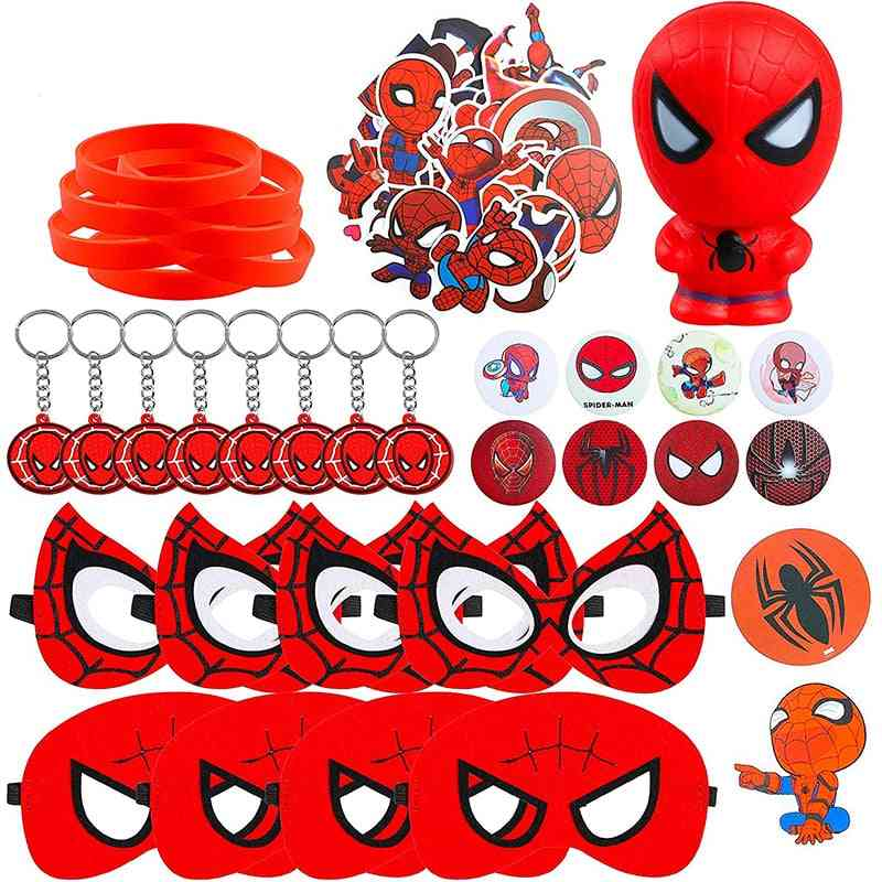 Spider Superhero Theme Party Mask Squeeze Toy, Sticker Rubber Bracelet, Badge, Keychain For