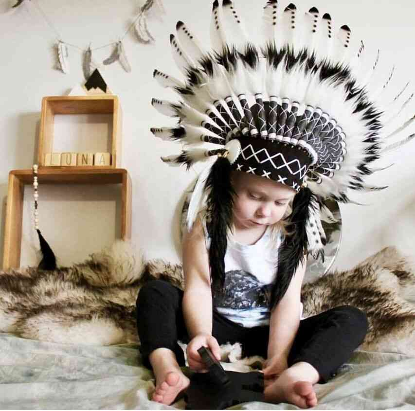 Feather Headdress, Children's Photography Props Hat Crown, Headdress Party Decoration