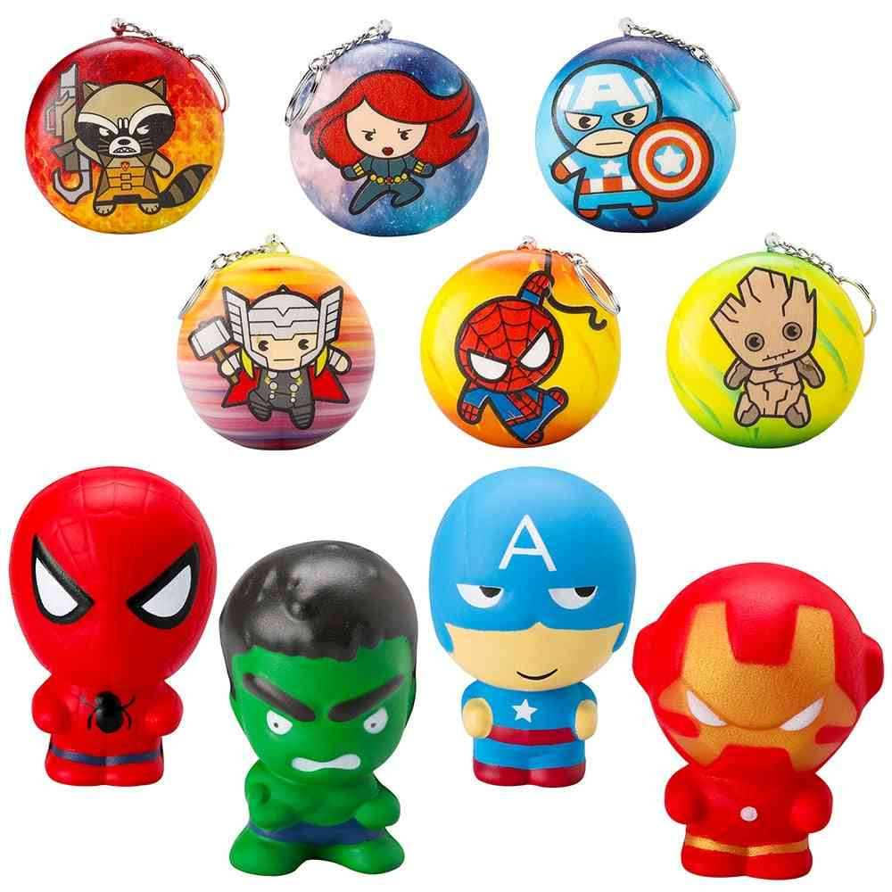 Superhero Soft Squeeze Squishy With Key Chains, Cartoon Slow Rising Stress Relief Party Supplies For Kids