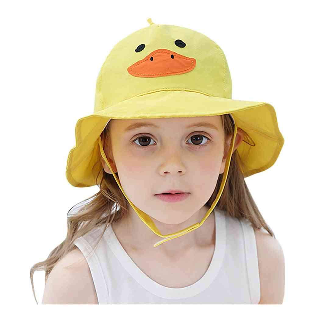 Summer Toddler, Baby Kids,, Cartoon Character Sun Cap Hat, Soft Cotton Fold Beach Sunscreen, Fisherman Hats