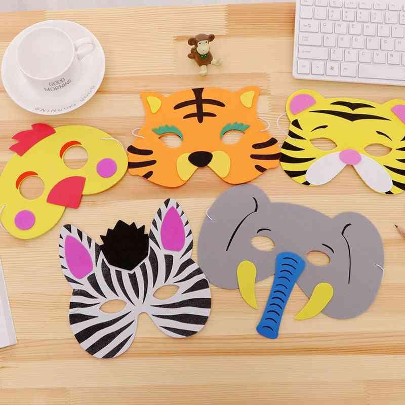 Random Mask Birthday Party Supplies, Eva Foam, Animal Zoo Jungle Masks, Cartoon Hats, Kids Party Dress Up Decoration