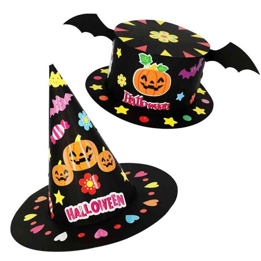 Halloween Diy Hat, Handmade, Cartoon Party Decoration Hats, Paper Cap, Crown Crafts Toy