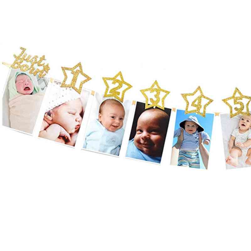 Baby Photo Banner With Clip, Shower Gold Birthday Party Decorations, Cartoon Hat