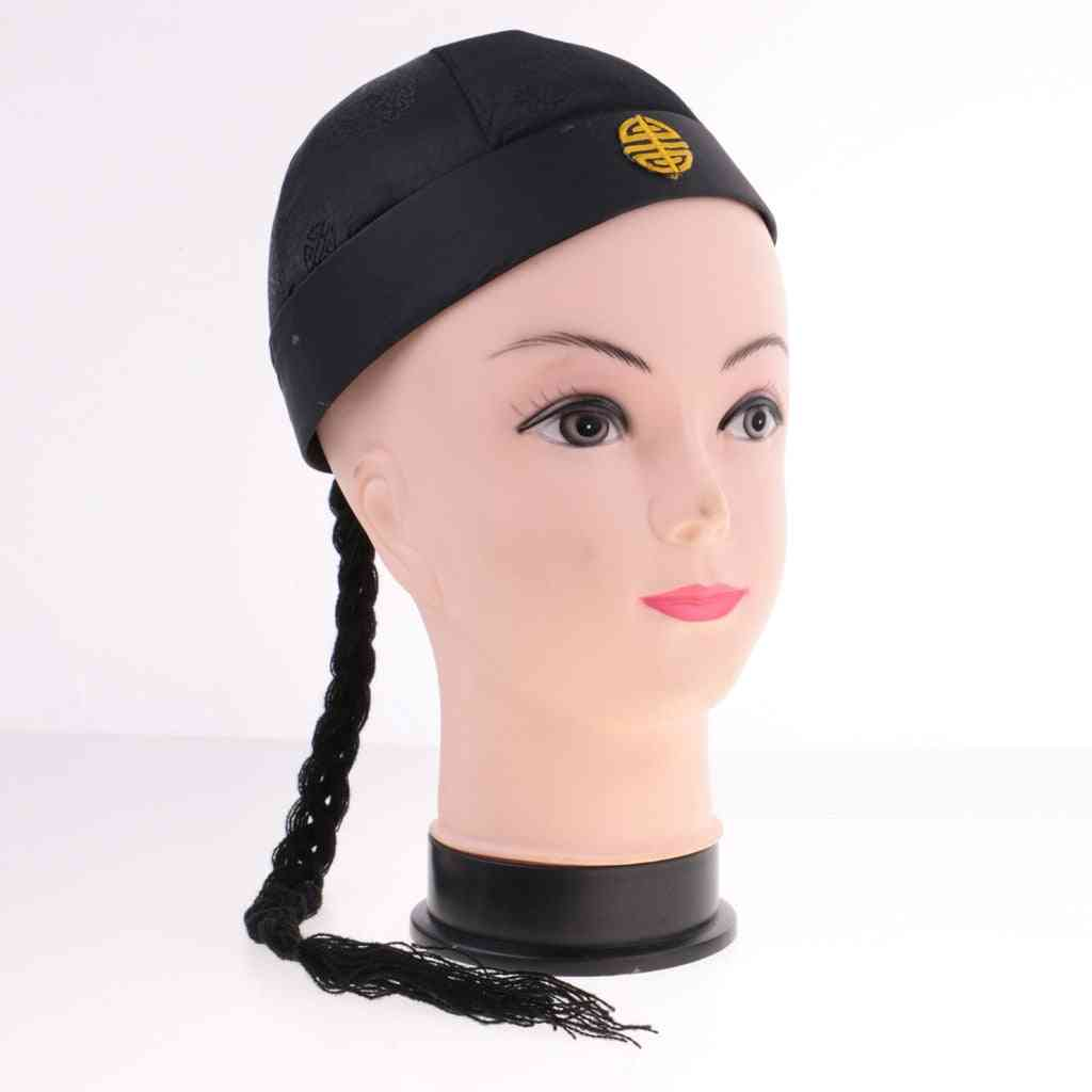 Funny Adult Kids Chinese Oriental Cap With Ponytail Hat