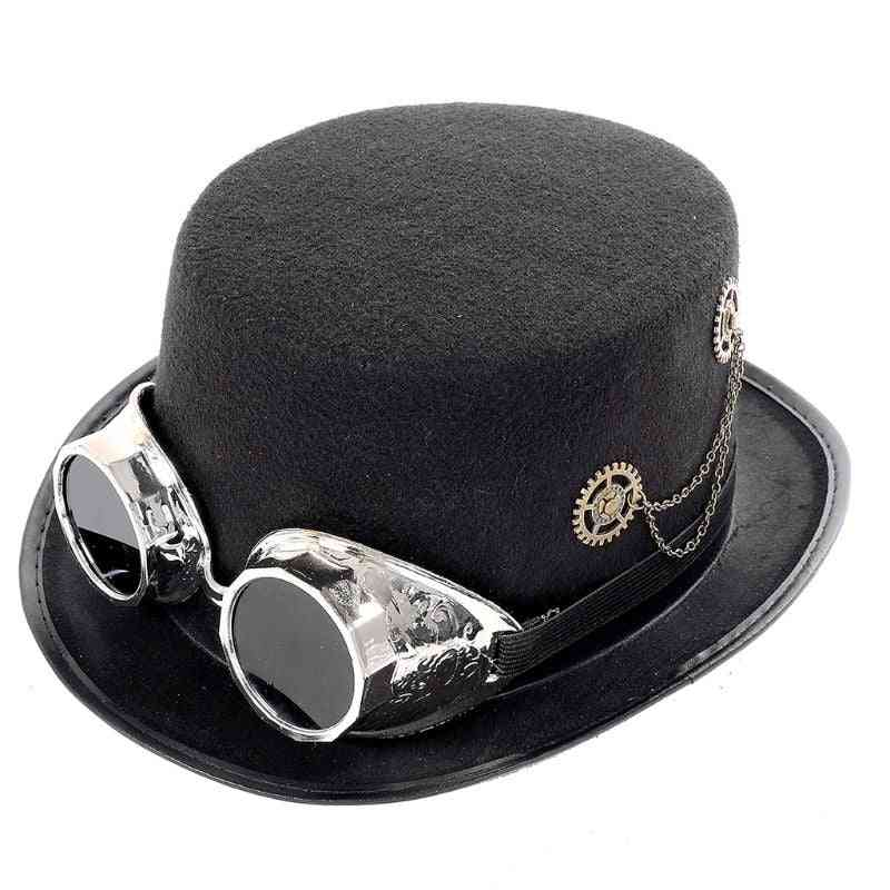 Unisex Heavy Metal Music Festival Top Hat Carnival Retro Gothic Steampunk Black Jazz Cap With Crow Goggles