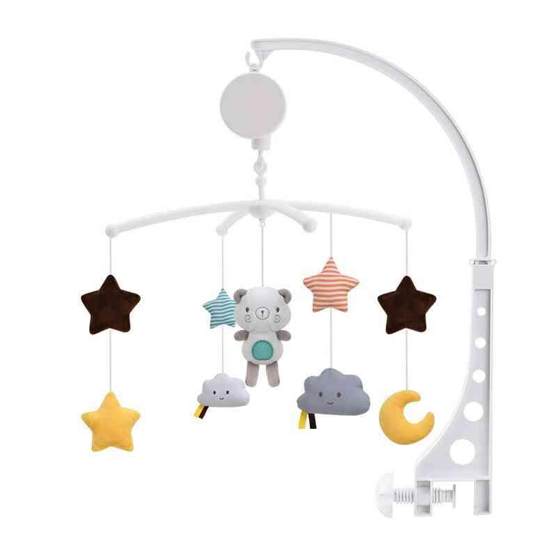 Baby Bed Mobiles Rattle With Holder, Music Box Soft Bear, Fox, Doll, Infant Sleep Companion, Newborn
