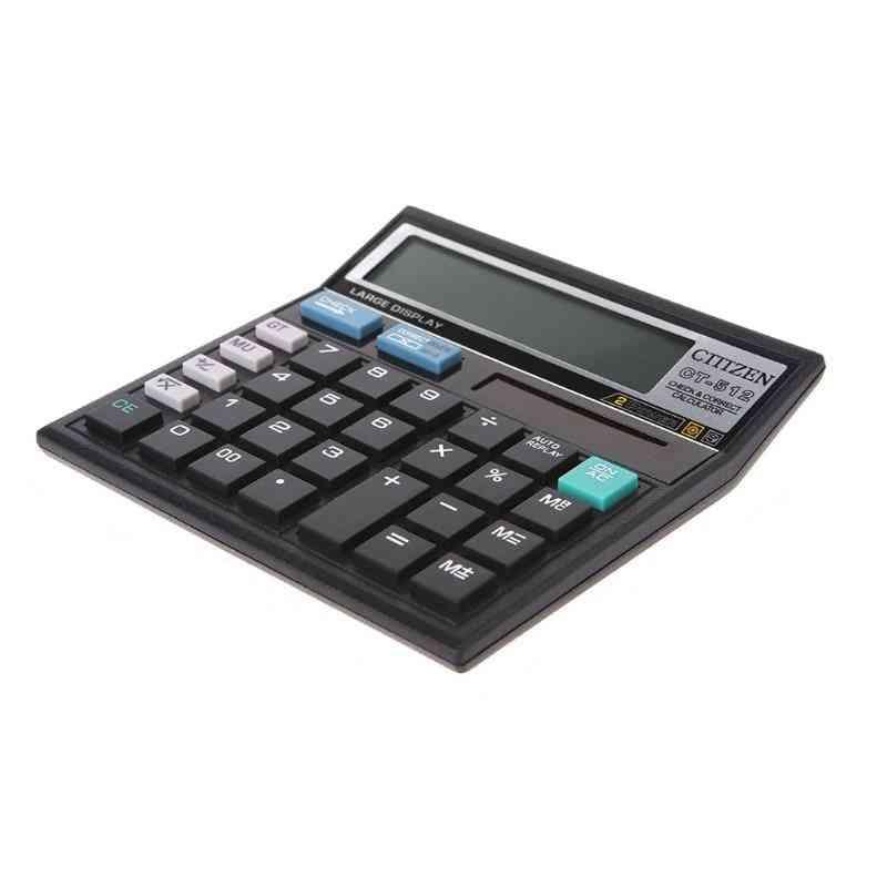 12-digit Display Scientific Calculator Solar Battery Dual Power Large