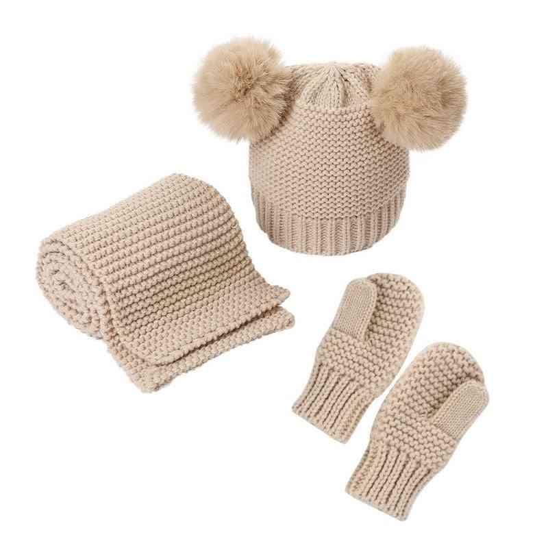 Three-piece Baby Hats Scarf Gloves Sets