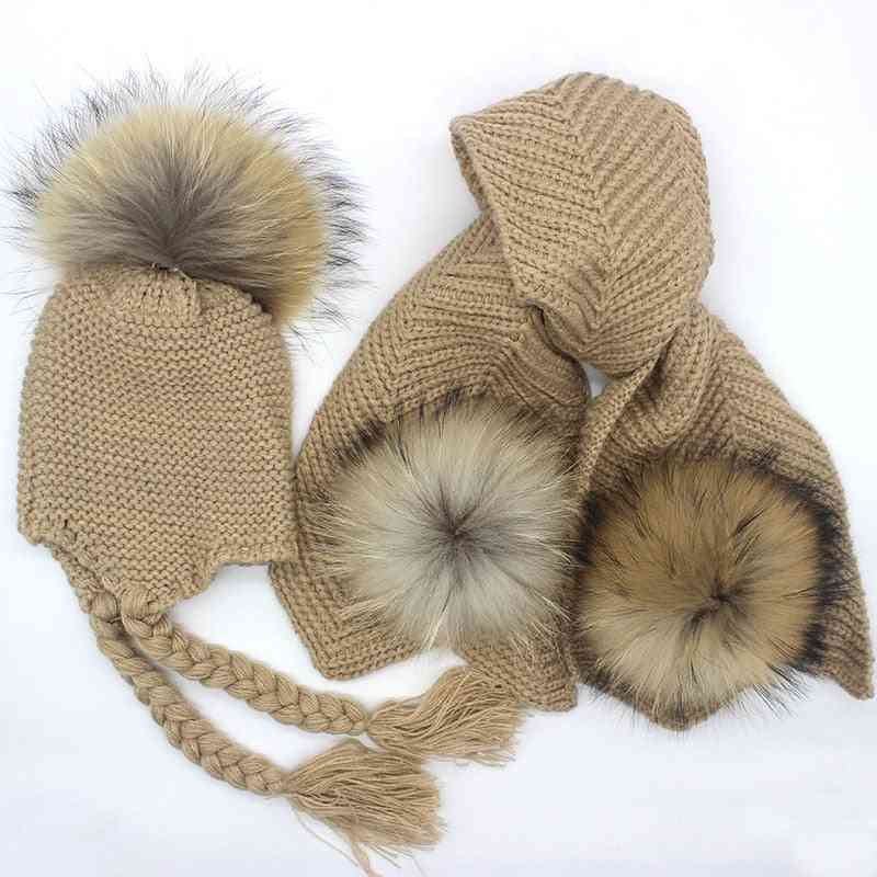 Kids Knitted Scarf And Hat Set