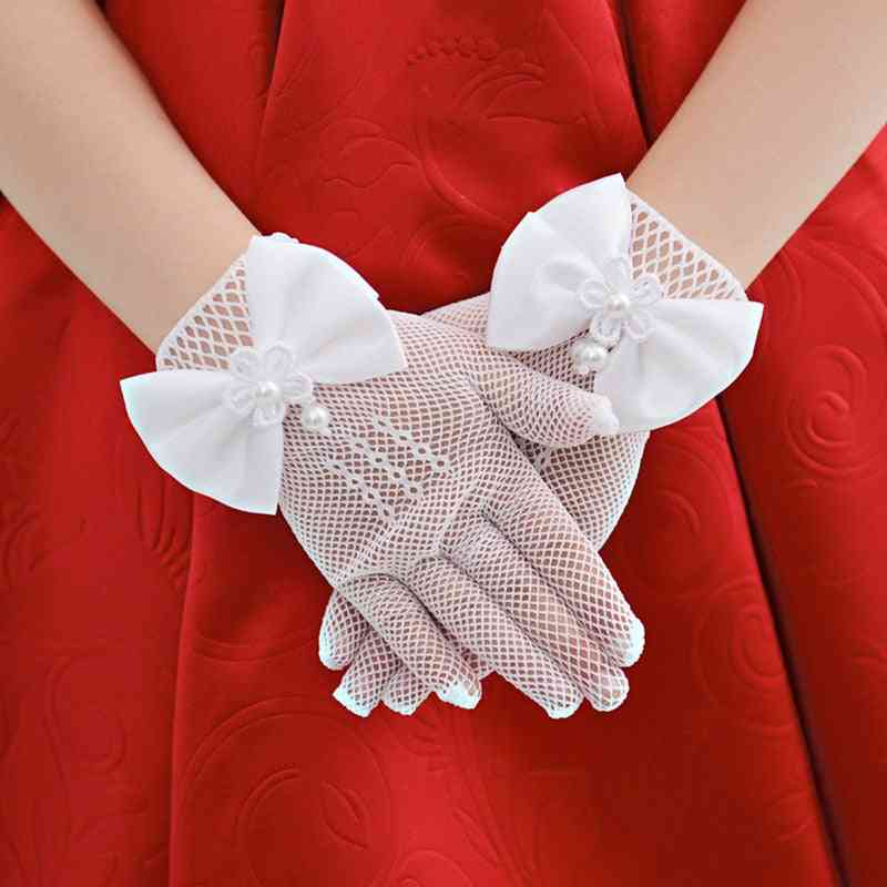 Kids Lace Pearl Mesh Bow Gloves