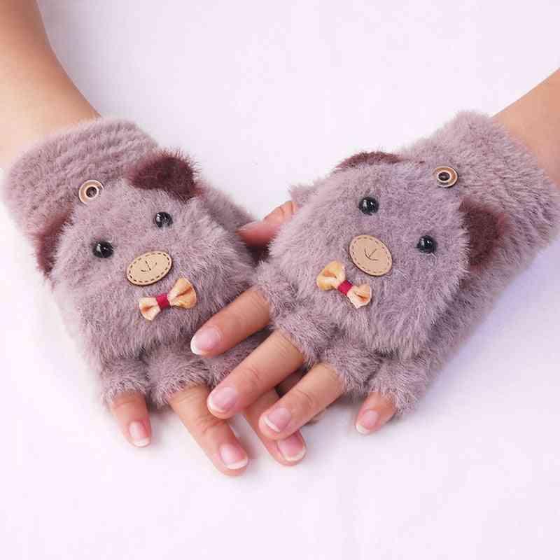 Kids Cute Cartoon Bear Warm Soft Knitted Fingerless Gloves