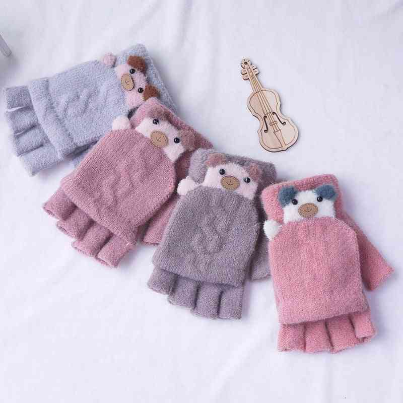 8-15 Years Old Winter Fashion Fingerless Touch Screen Gloves