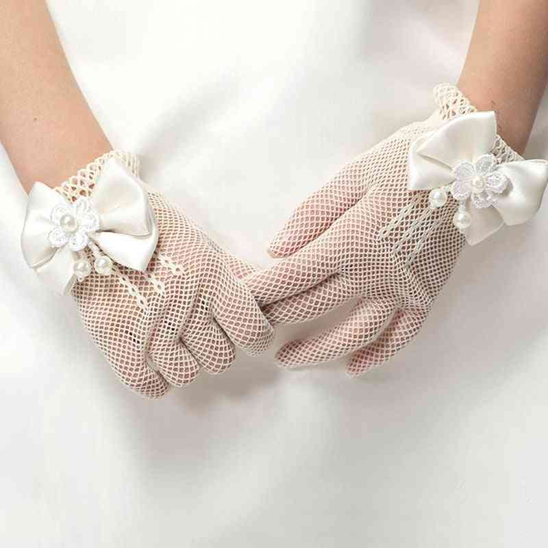 Girls Mesh Bow Lace Pearl Decoration Gloves