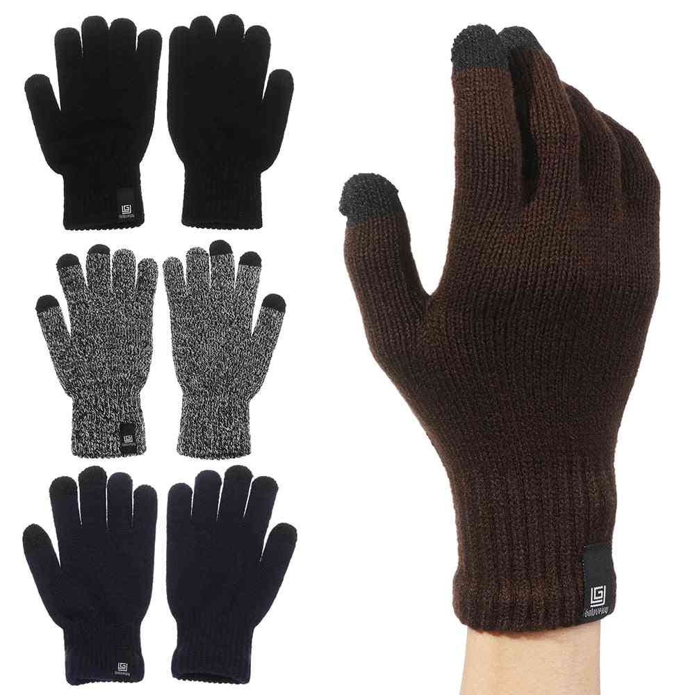 Winter Knitted Wool Touch Screen Full Finger Gloves