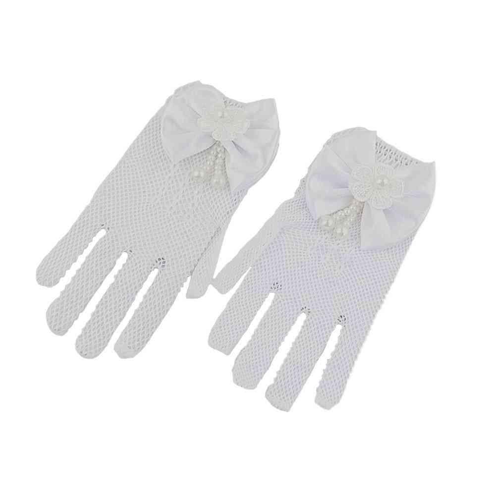 1 Pair White Lace Faux Fishnet Communion Flower Gloves