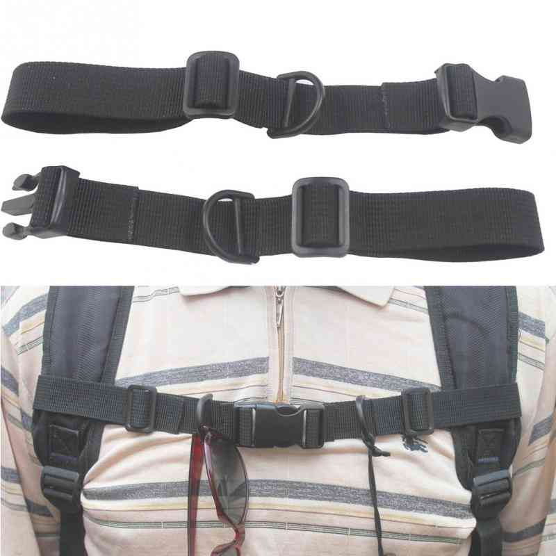 Chest Strap Harness Buckled Black Nylon With Whistle Adjustable Anti Slip