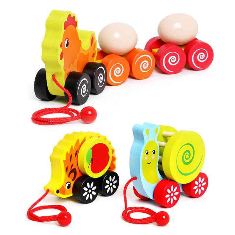 Animal Toddler Cart, Cartoon Wooden Snail, Hedgehog, Child Early Learning Puzzle, Baby Creative Drag Pull Toy