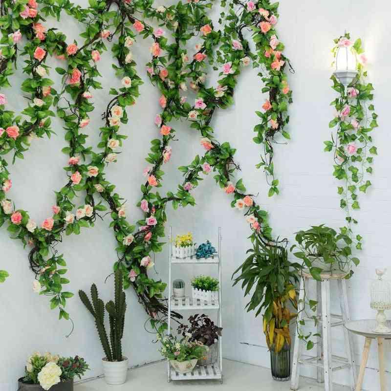 Silk Roses Ivy Flower, Vine Artificial Garland For Home, Wedding, Garden Decoration, Hanging Rattan, Wall Decor