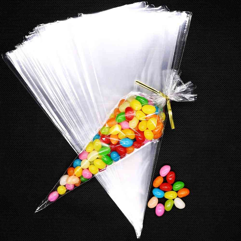 Transparent Candy Packing Bags, Wedding Birthday Party Decoration, Sweet Cellophane Cone Storage Packaging Bag