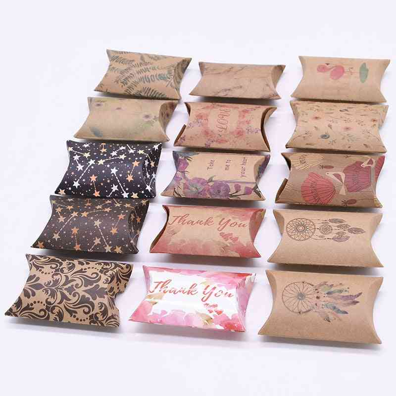 Kraft Paper Box, Pillow Shape, Wedding Favor Boxes For Home, Baby Shower, Kids Birthday Party Supplies
