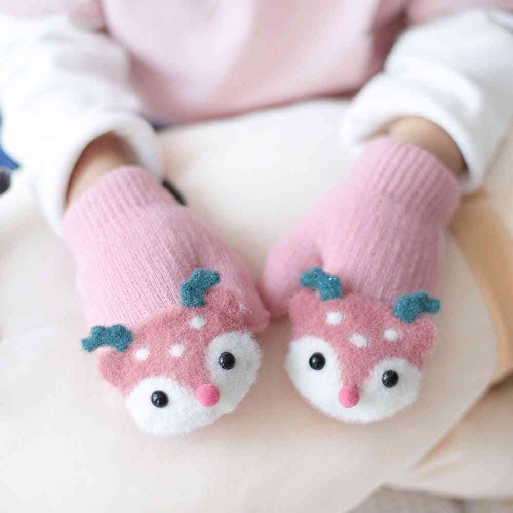 Cute Cartoon Deer Knitted Gloves With Sound Plush Warm