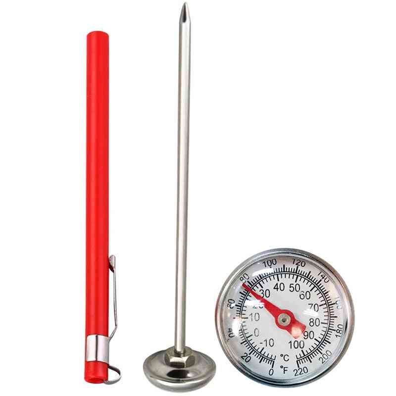 Stainless Steel Soil Thermometer, Stem Read Dial Display, Celsius Range For Ground Compost, Garden Supplies