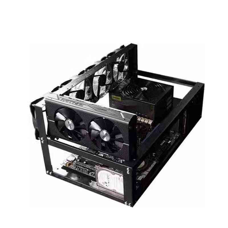 Open Air Miner Mining Frame Rig Case Up To 6 Gpu For Bitcoin Crypto Coin Currency