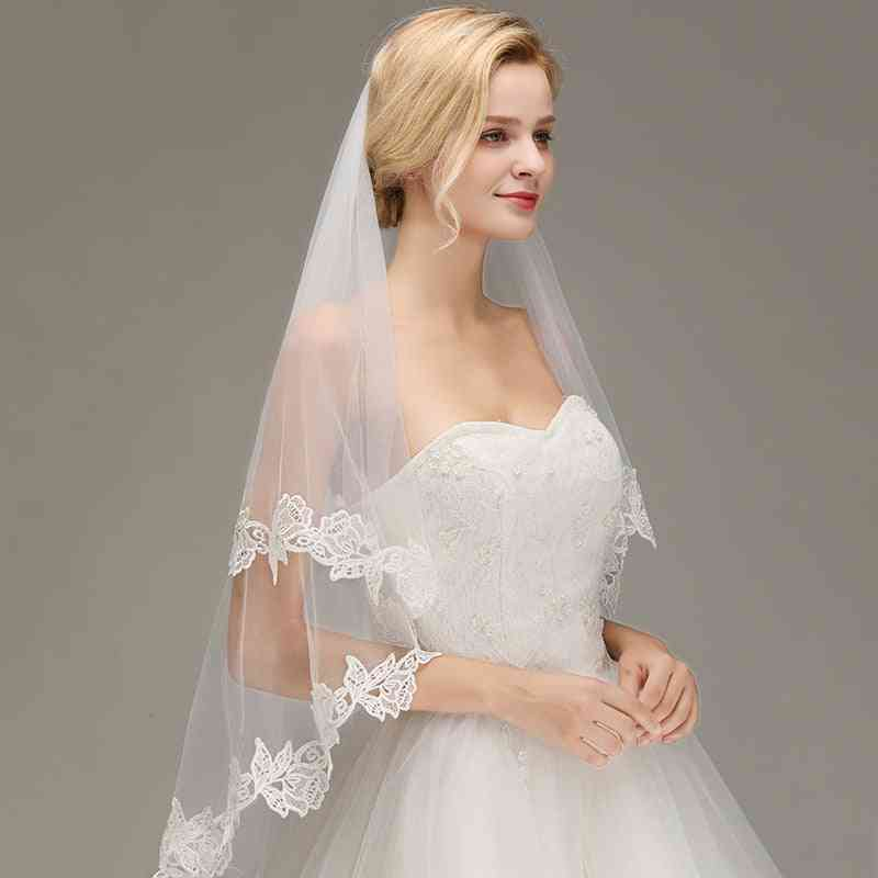 Romantic Lace Applique Two Layers Wedding Long Veils With Comb Wedding Accessories