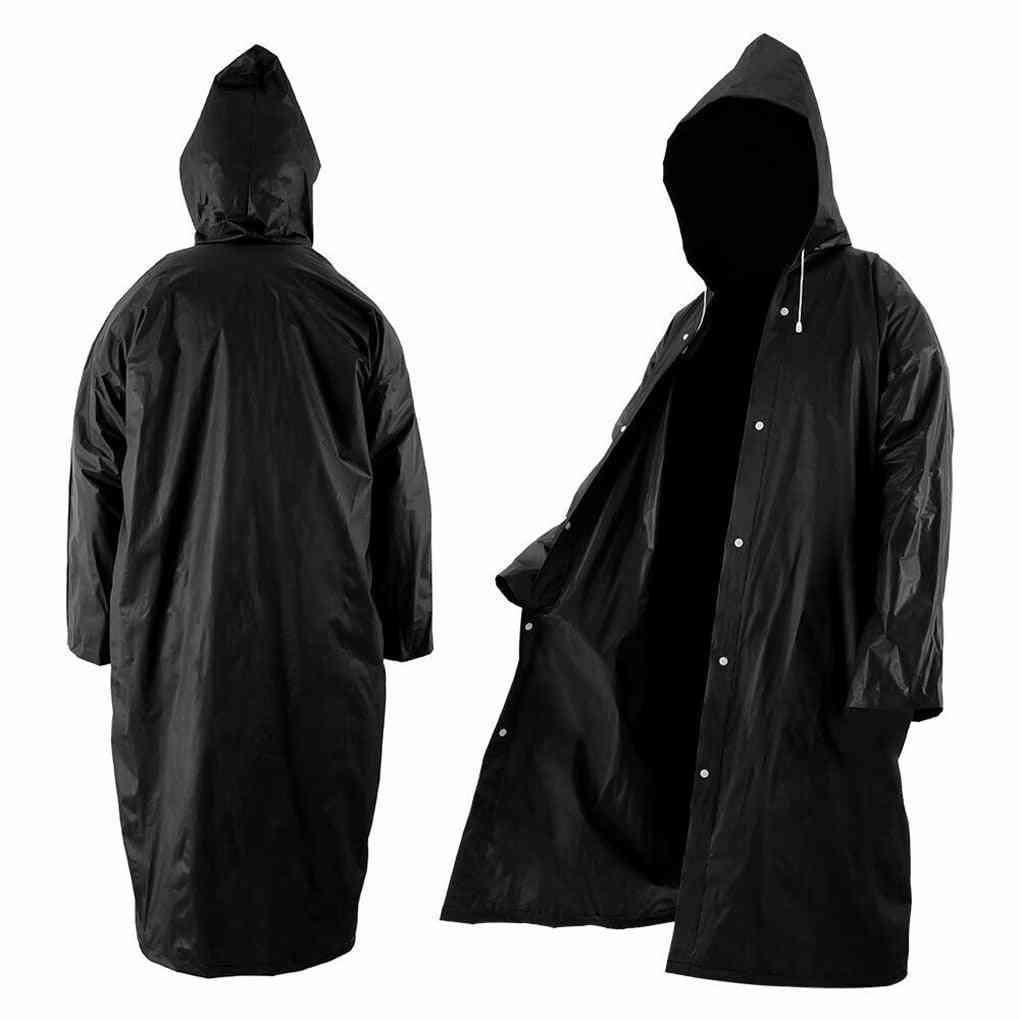 Eva Raincoat Women/men With Hat, Buttons, Slicker, Poncho Rainwear, Outdoor, Long Style, Hiking Environmental Rain Jacket