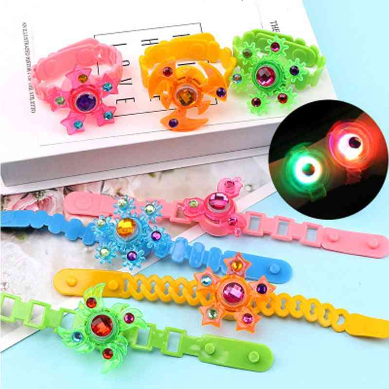 Kids Fingers Spinner Band, Manual Rotating, Flash Luminous Gyro Bracelet, Led Glow In The Dark, Party Game For