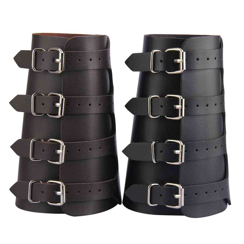 Unisex Pu Leather Gauntlet Wide Bracer Arm Armor Wristband Protector