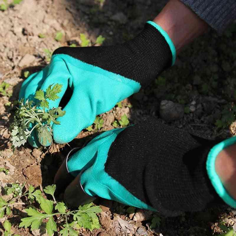 Plastic Garden Rubber Gloves Gardening