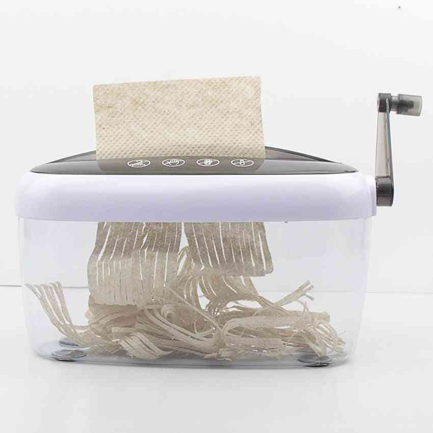 Shredder Strip Cut Paper, Hand Shreddering With Clear Basket, A4 Paper, Documents, Cutting Tool For Office, Home, Desktop
