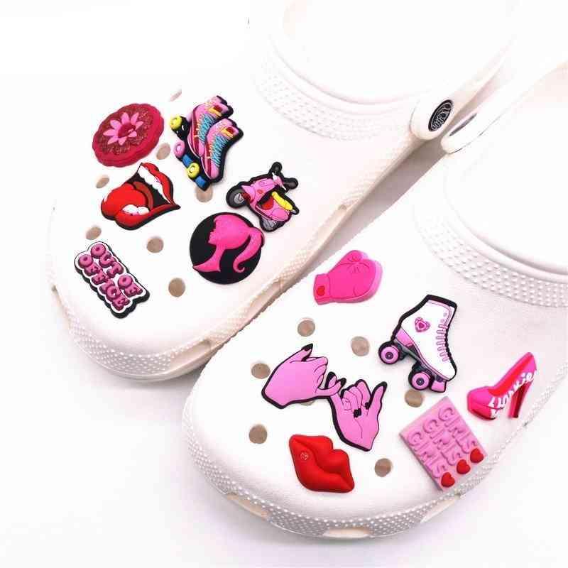 Pink Roller Skates, Girl Boxing Gloves, Lips, High Heels Shoe Charms Decoration