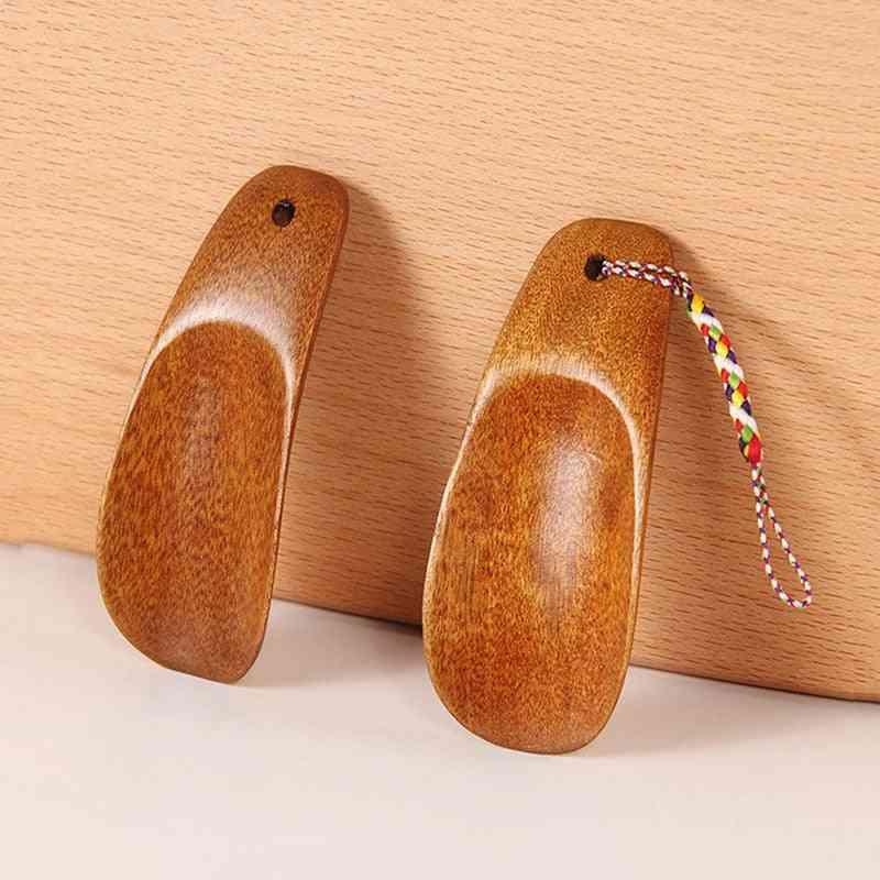 Portable Craft Long Natural Handle Wooden Shoe Horn