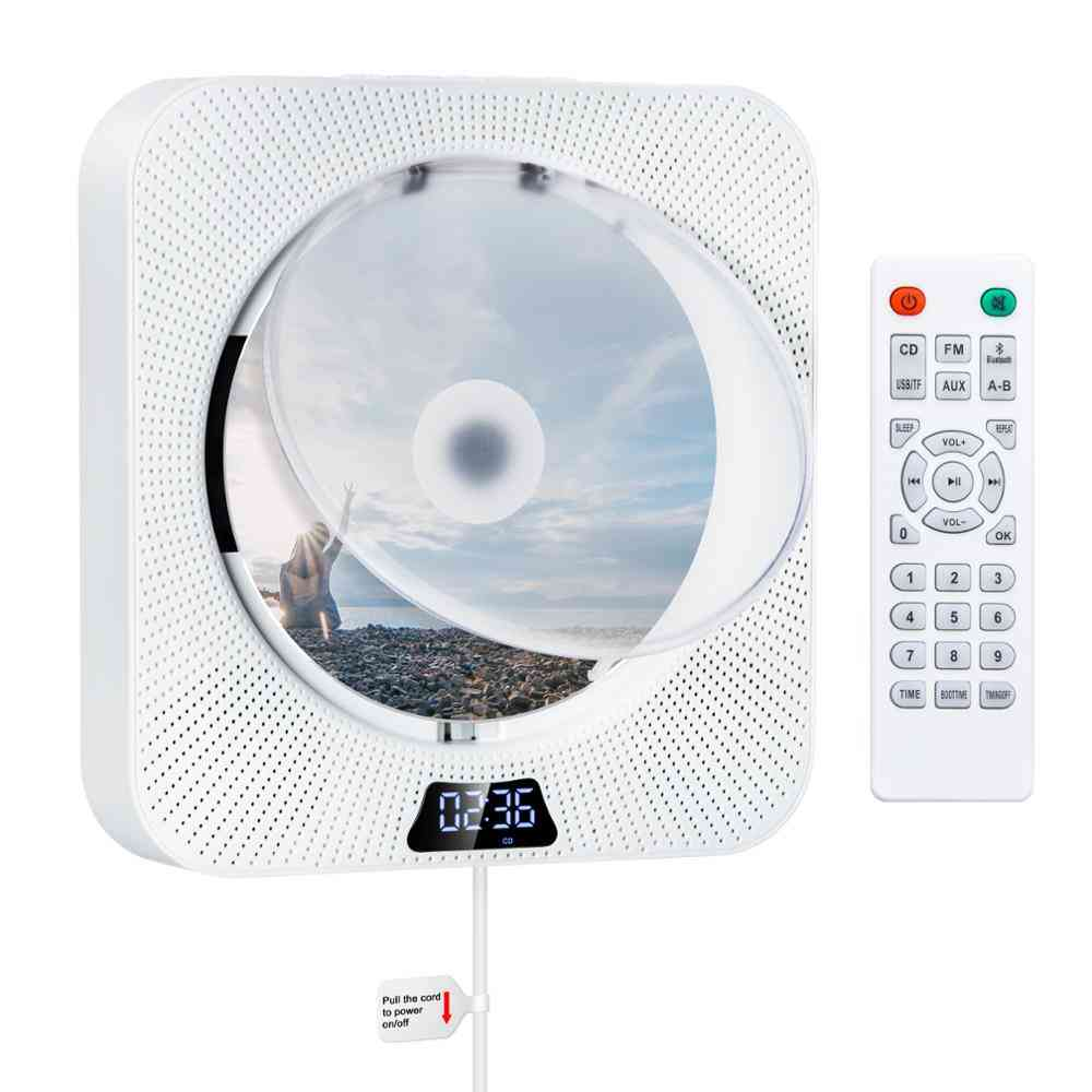 Wall Mountable Cd Player With Bluetooth Built-in 2 Hifi Loudspeakers Lcd Display Home Audio Remote Control Fm Radio