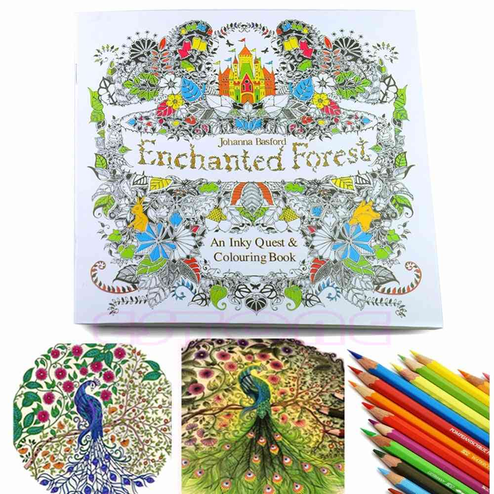 Children Adult Enchanted Forest, English Version Drawing Coloring Book