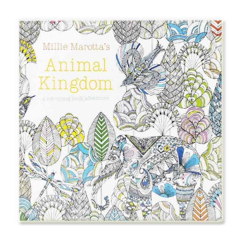 Animal Kingdom Coloring Book For Adult, Child Relieve Stress, Kill Time, Painting, Drawing, Art Books