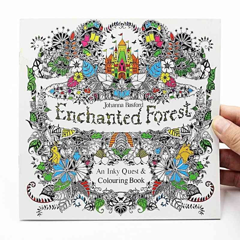 Enchanted Forest English Edition Coloring For, Adult, Relieve Stress, Kill Time Painting, Drawing Book