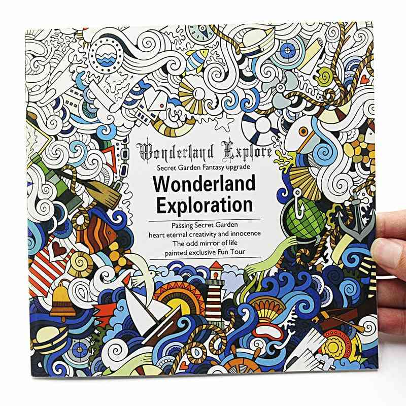 Creative English Version, Wonderland Exploration Coloring Book For Adult, Relieve Stress Drawing Art Book