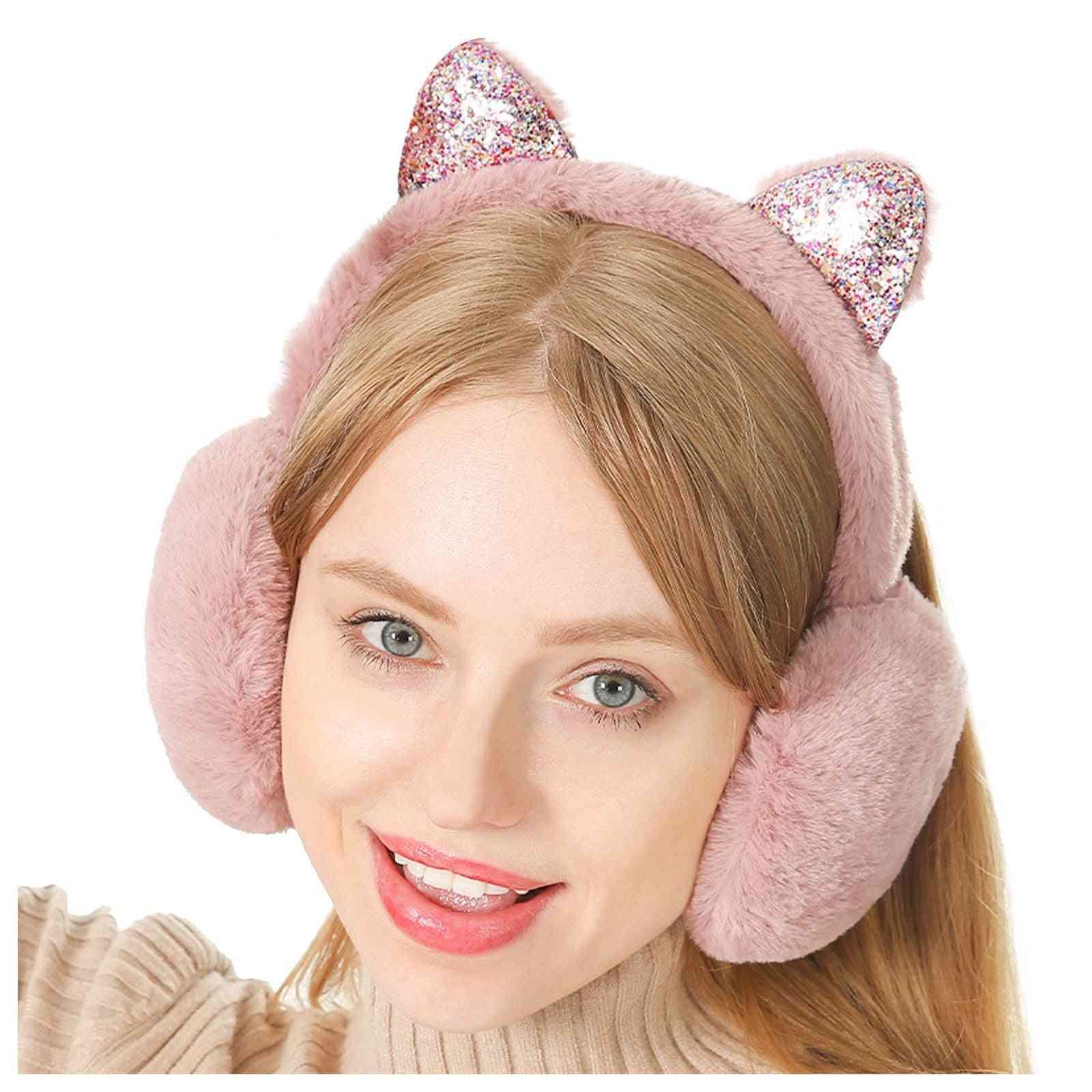 Girls Cute Cartoon Plush Folding Ear Protectors