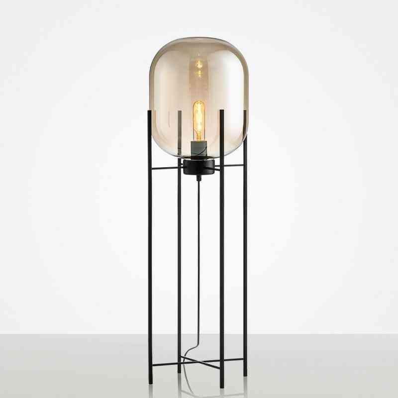 Amber Glass Floor Lamp Four Tripod Lamp