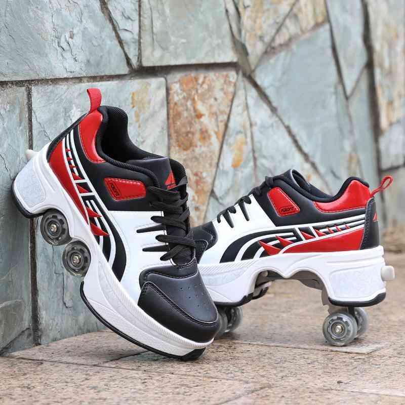 Leather 4 Wheels Double Line Roller Skates Shoes - Reddish Black
