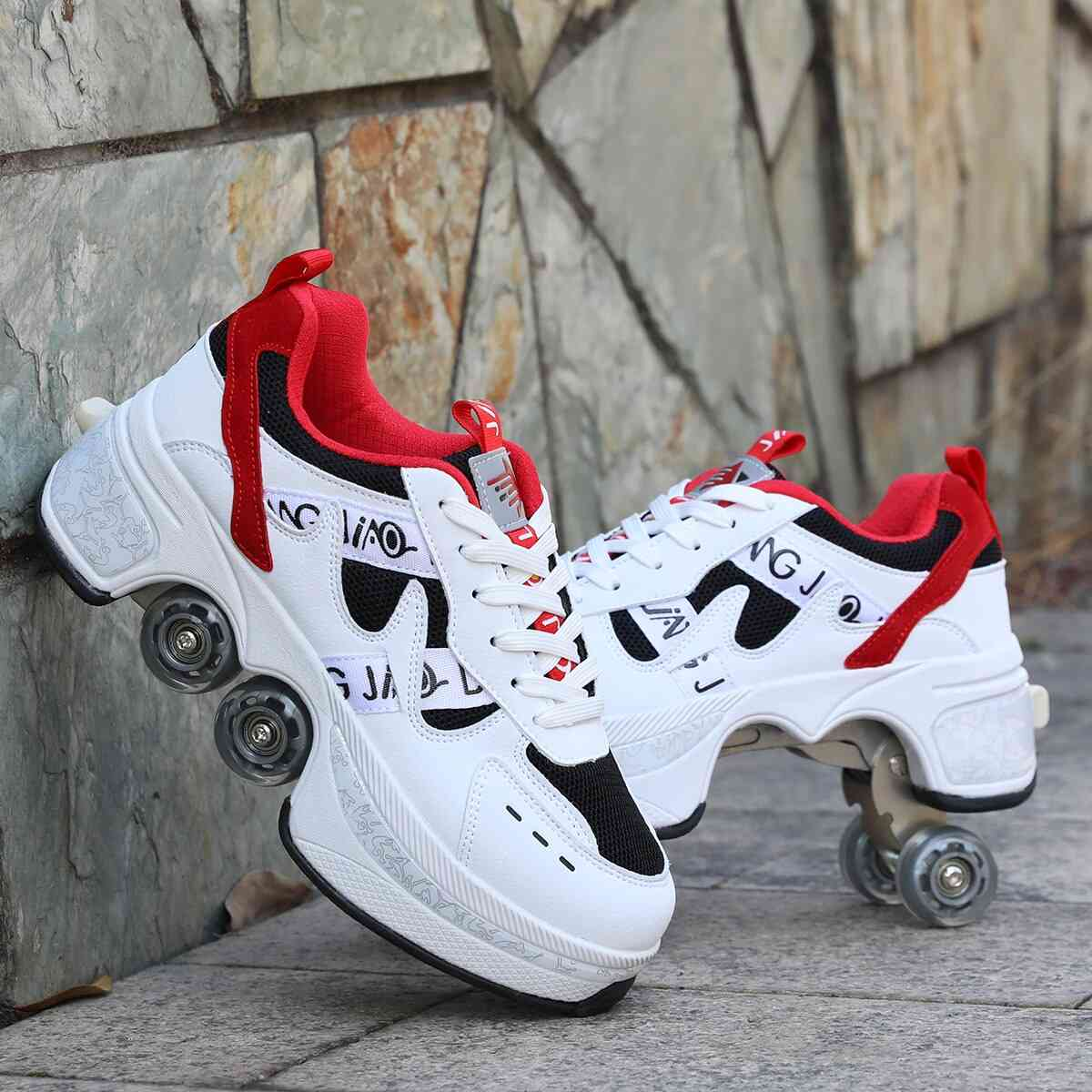 Leather 4 Wheels Double Line Roller Skates Shoes - Red