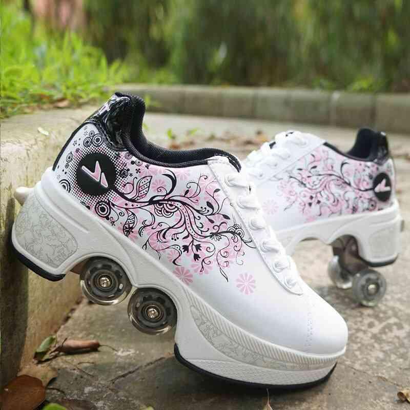 Leather 4 Wheels Double Line Roller Skates Shoes - White Black Powder